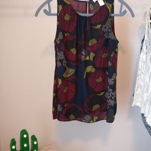 Loft tank blouse for business casual, flowers